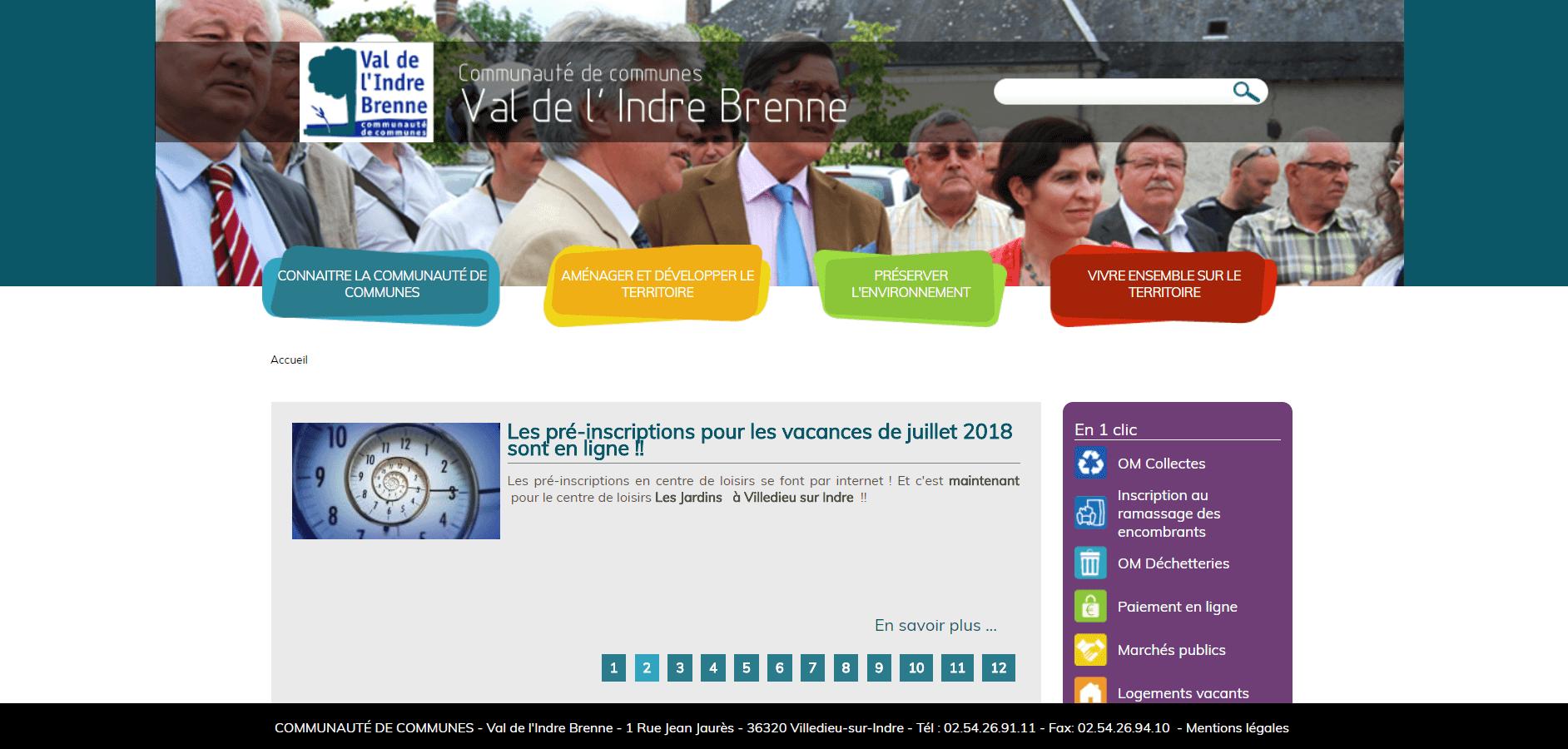 Création site internet de la Communauté de communes du Val de l'Indre Brenne